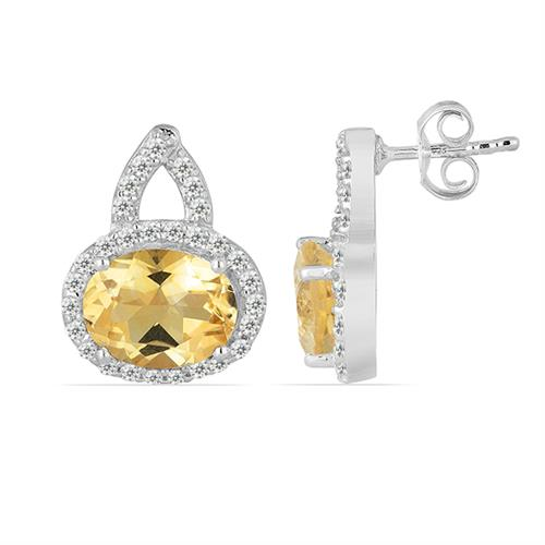 CITRINE SILVER EARRING WITH WHITE ZIRCON #VE011920