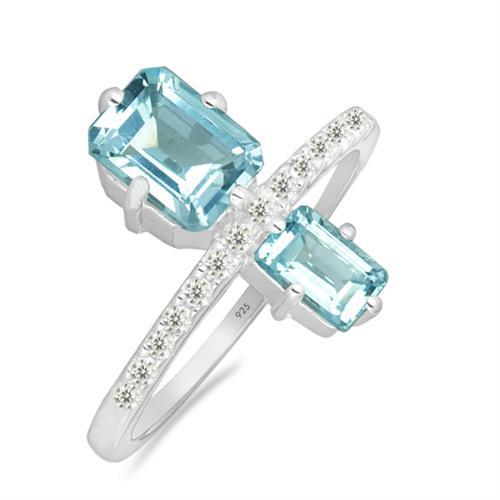 SKY BLUE TOPAZ SILVER RING WITH WHITE ZIRCON #VR025239