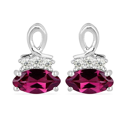 RHODOLITE SILVER EARRING WITH WHITE ZIRCON #VE010751