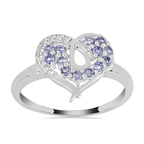 0.78 CT ARUSHA TANZANITE SILVER RING WITH WHITE  ZIRCON #VR018489