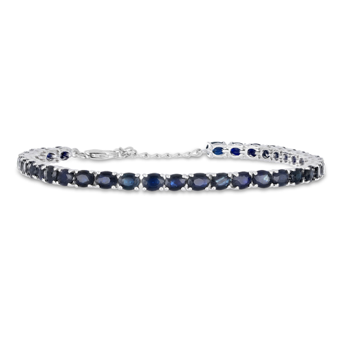 8.50 CT AUSTRALIAN BLUE SAPPHIRE 19 CM STERLING SILVER BRACELET WITH FISH LOCK #VB014853