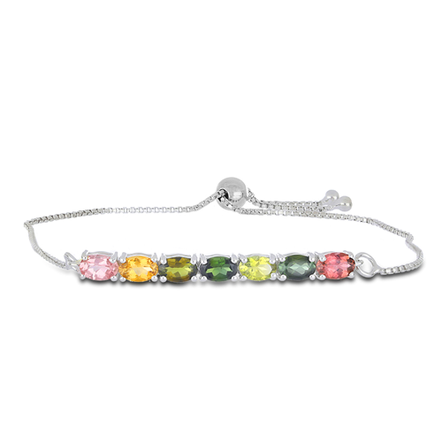 3.50 CT MOZAMBIQUE MULTI TOURMALINE 19 CM SILVER SLIDER BRACELET #VB015955