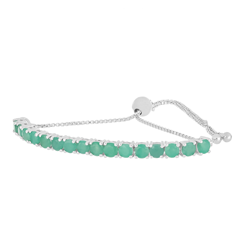 4.00 CT SAKOTA EMERALD 19 CM SILVER SLIDER BRACELET #VB015393