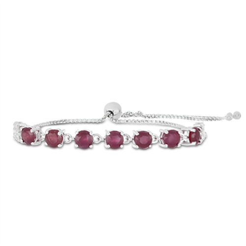3.50 CT KARNATAKA RUBY SILVER SLIDER BRACELET WITH WHITE ZIRCON #VB014848