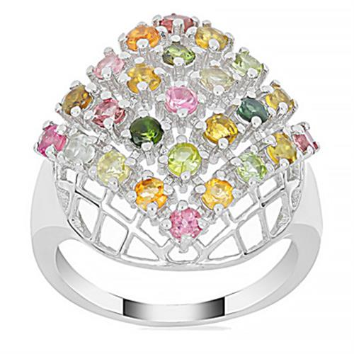 1.75 CT MOZAMBIQUE MULTI TOURMALINE SILVER RING #VR018579