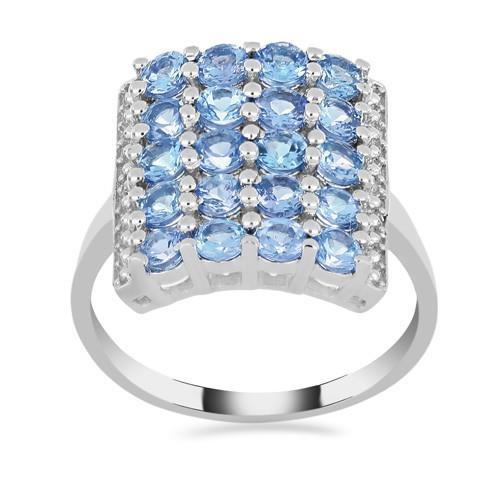 3 CT SKY BLUE SILVER RING #VR015127