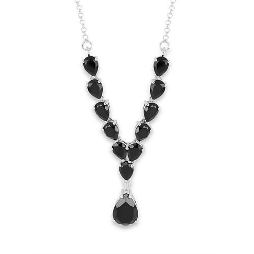 12.06 CT ALGERIAN BLACK ONYX 45 CM SILVER NECKLACE WITH FISH LOCK #VNECK018556