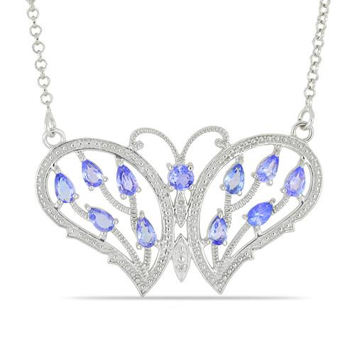 2.9 CT ARUSHA TANZANITE 45 CM SILVER NECKLACE WITH FISH LOCK #VNECK016451