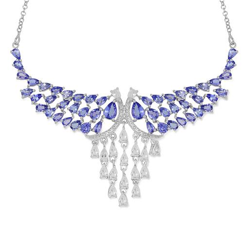 13.96 CT ARUSHA TANZANITE 45 CM SILVER NECKLACE WITH FISH LOCK #VNECK015245