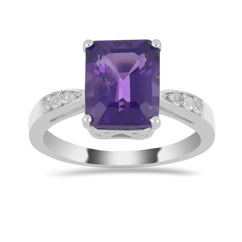 3.15 CT AFRICAN AMETHYST SILVER RING #VR018625
