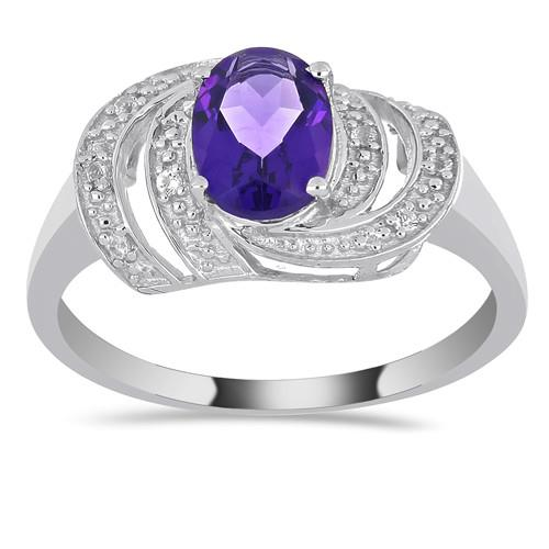 1.05 CT AFRICAN AMETHYST SILVER RING #VR019878