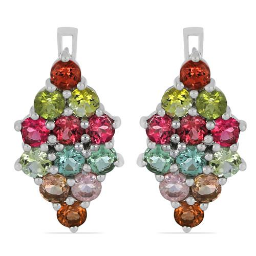 6.0 CT MOZAMBIQUE MULTI TOURMALINE SILVER EARRINGS #VE015918