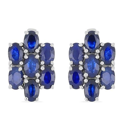 7.0 CT AUSTRALIAN BLUE SAPPHIRE SILVER EARRINGS #VE014377