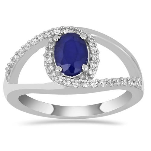 0.70 CT AUSTRALIAN BLUE SAPPHIRE SILVER RING #VR014543