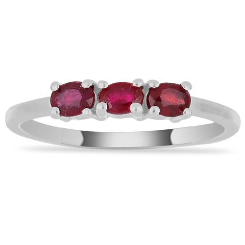 0.60 CT GLASS FILLED RUBY SILVER RING #VR014820