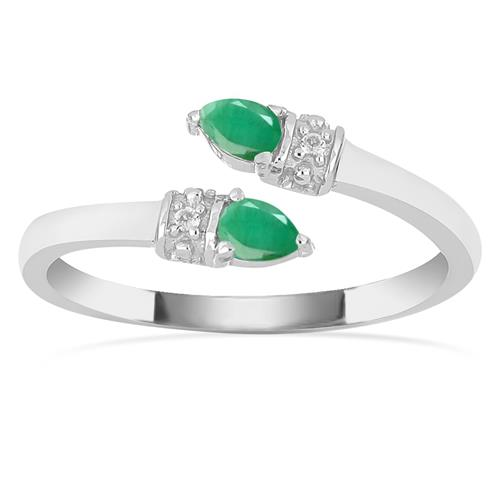 SAKOTA EMERALD SILVER RING #VR016430