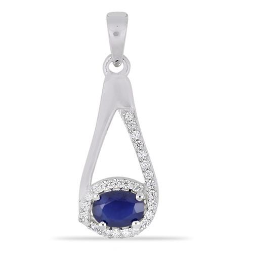 0.70 CT AUSTRALIAN BLUE SAPPHIRE SILVER EARRINGS #VP014543