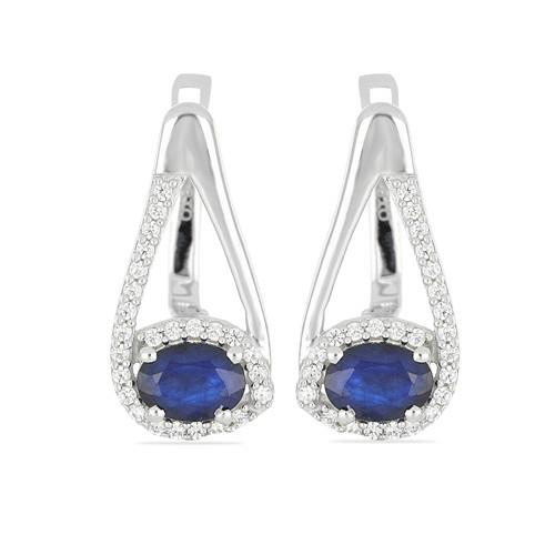 1.4 CT AUSTRALIAN BLUE SAPPHIRE SILVER EARRINGS #VE014543