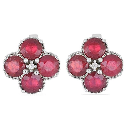 8.80 CT GLASS FILLED RUBY SILVER EARRINGS #VE014775