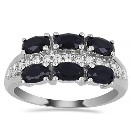 1.44 CT BLACK SAPPHIRE SILVER RINGS #VR015935