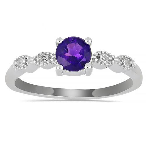 0.55 CT AFRICAN AMETHYST SILVER RINGS #VR013647