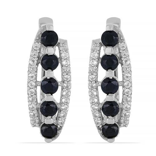 1.50 CT BLACK SAPPHIRE SILVER EARRINGS #VE014295