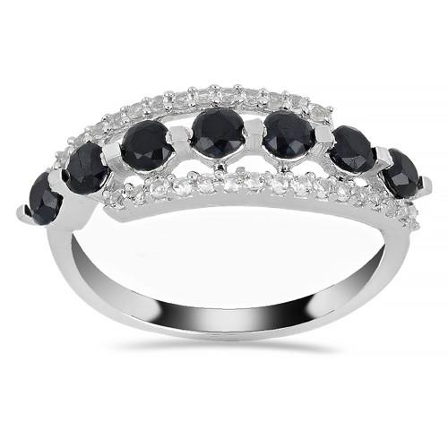 1.05 CT BLACK SAPPHIRE SILVER RINGS #VR014295