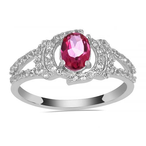 0.72 CT PINK TOPAZ SILVER RINGS #VR013655