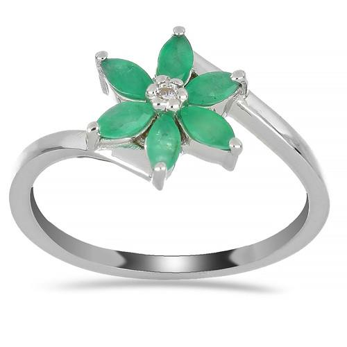 0.90 CT SAKOTA EMERALD SILVER RING #VR016436