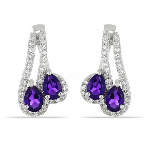 2.00 CT AFRICAN AMETHYST SILVER EARRINGS #VE029028
