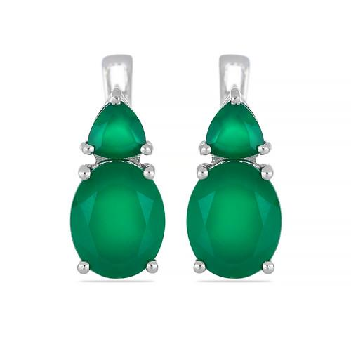 5.80 CT GREEN ONYX SILVER EARRINGS #VE017156