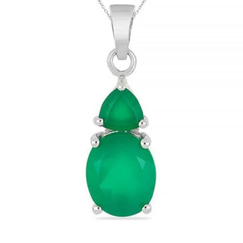 2.95 CT GREEN ONYX SILVER PENDANTS #VP017156
