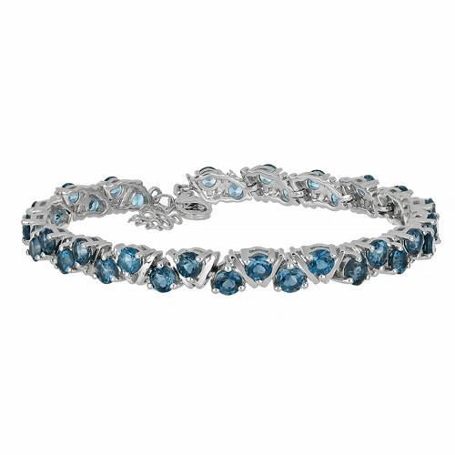 9.50 CT LONDON BLUE TOPAZ SILVER BRACELET #VB030193