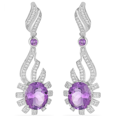 12.36 CT BRAZILIAN AMETHYST SILVER EARRINGS #VE028946