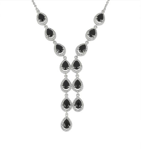 9.36 CT ALGERIAN BLACK ONYX SILVER NECKLACE #VNECK029938