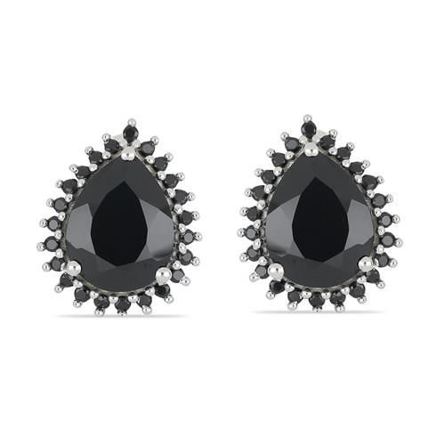 6.80 CT ALGERIAN BLACK ONYX SILVER EARRINGS #VE029929