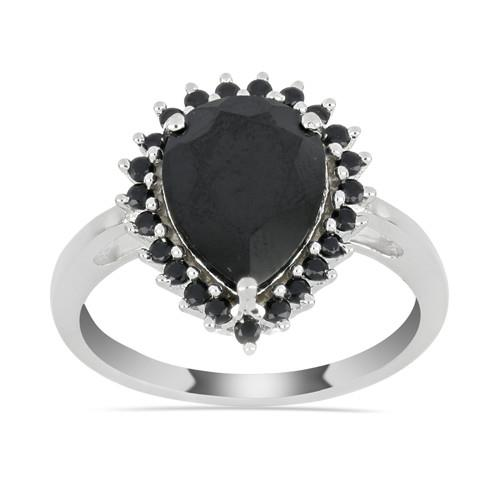 3.40 CT ALGERIAN BLACK ONYX SILVER RING #VR029929