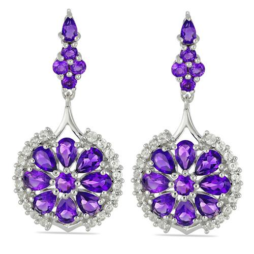 10.84 CT AFRICAN AMETHYST SILVER EARRINGS #VE028938