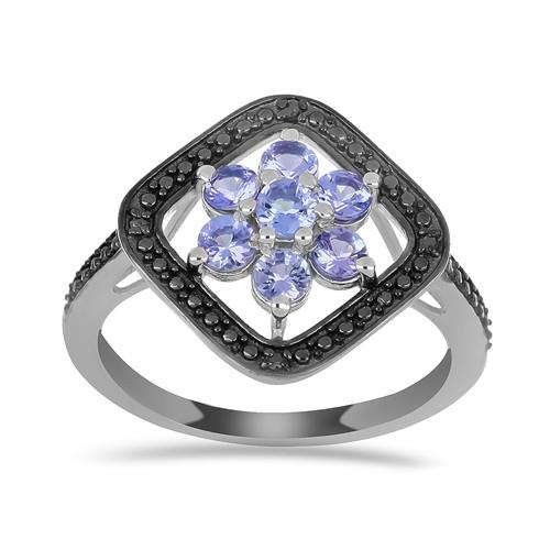 1.05 CT ARUSHA TANZANITE SILVER RING WITH BLACK RHODIUM #VR016530
