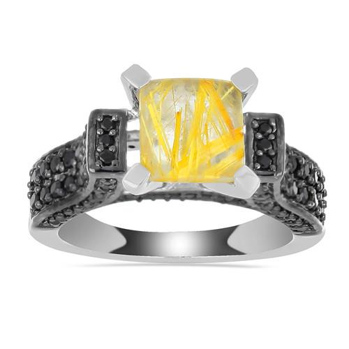 2.50 CT GOLDEN RUTILE SILVER RING WITH BLACK RHODIUM PRONG #VR031699