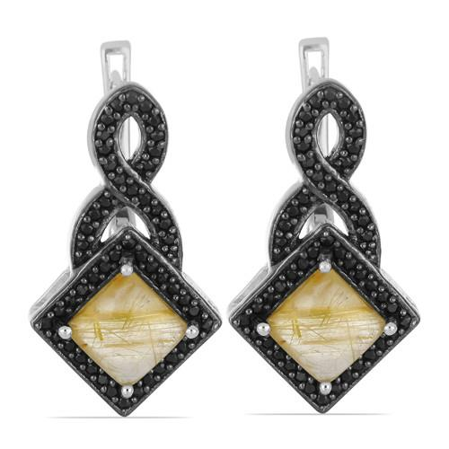 5.00 CT GOLDEN RUTILE SILVER EARRING WITH BLACK RHODIUM PRONG #VE031715
