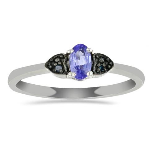 0.24 CT ARUSHA TANZANITE SILVER RING WITH BLACK RHODIUM PRONGS #VR018083