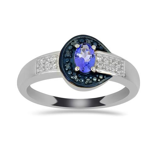 0.50 CT ARUSHA TANZANITE SILVER RING WITH BLACK RHODIUM PRONGS #VR016506