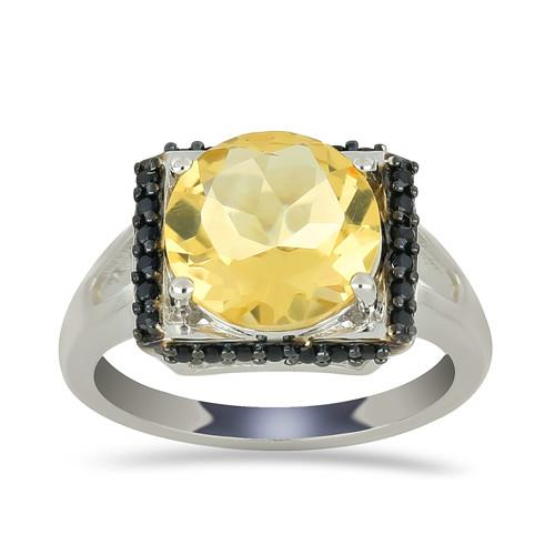 3.60 CT BRAZILIAN CITRINE SILVER RINGS WITH BLACK RHODIUM GRANS #VR028502