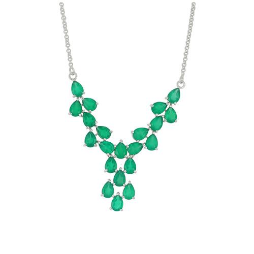 15.12 CT GREEN ONYX  SILVER NECKLACE #VNECK029893