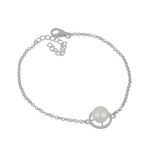 5.20 CT WHITE FRESHWATER PEARL SILVER BRACELET WITH FISH LOCK #VB029608