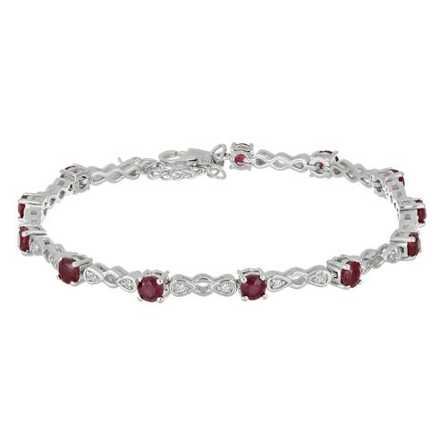 3.30 CT RUBY SILVER BRACELETS WITH FISH LOCK #VB029192
