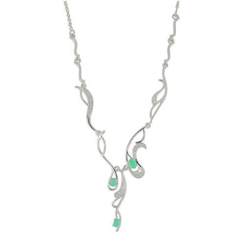 0.64 CT SAKOTA EMERALD SILVER NECKLACE #VNECK029818