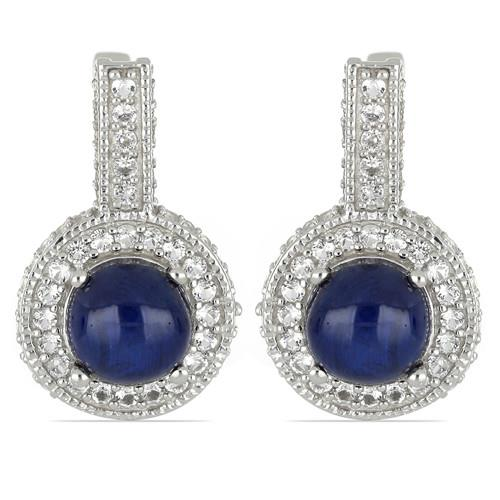 8. 60 CT STAR SAPPHIRE SILVER EARRINGS #VE029637