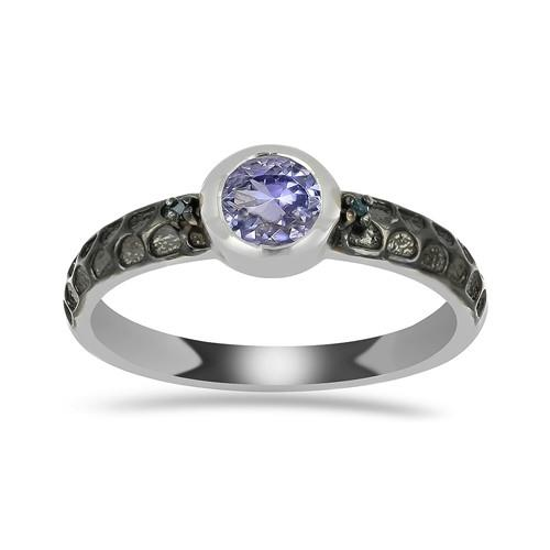 0.55 CT ARUSHA TANZANITE SILVER RING WITH BLACK RHODIUM #VR018024